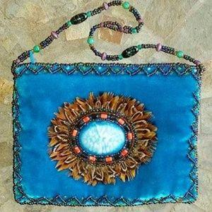 Handbags - Feathered Beaded Blue Velvet Medicine Bag Wristlet